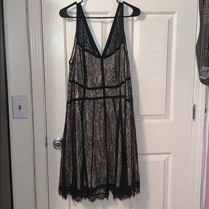 Torrid Nude/Blk Lace Skater Dress